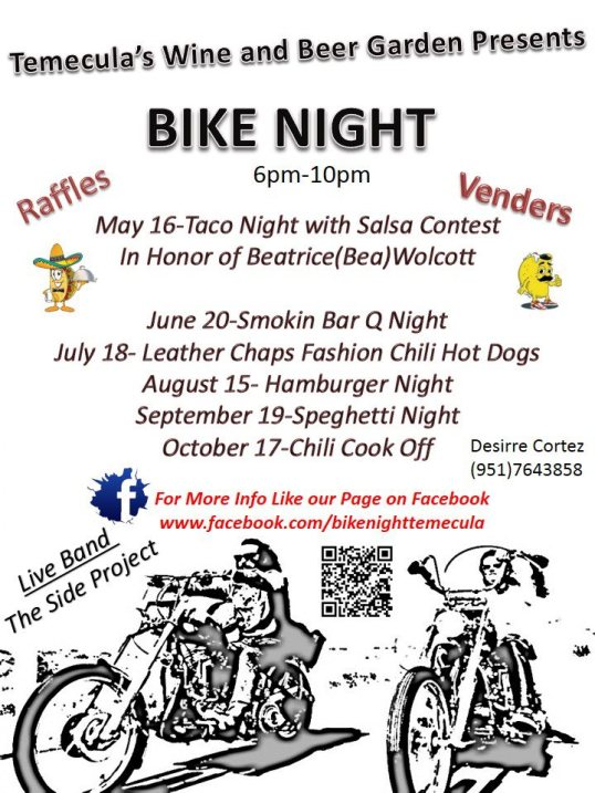 bike night at wine and beer