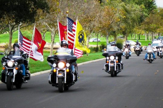 Front and Center, George Leads the Patriot Guard Riders on a Mission