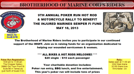 Brotherhood of the USMC Poker Run