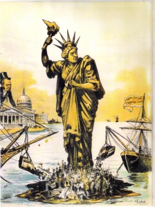 """Dumping European Garbage"" (Judge magazine, 1890) was typical of the nativist cartoons ca. 1880-1920 that used the image of Lady Liberty to condemn immigration."